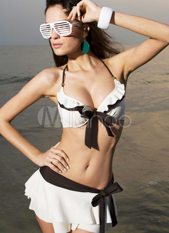 Modern Ruffles White Two Pieces Chinlon Polyester Spandex Womens Swimsuit