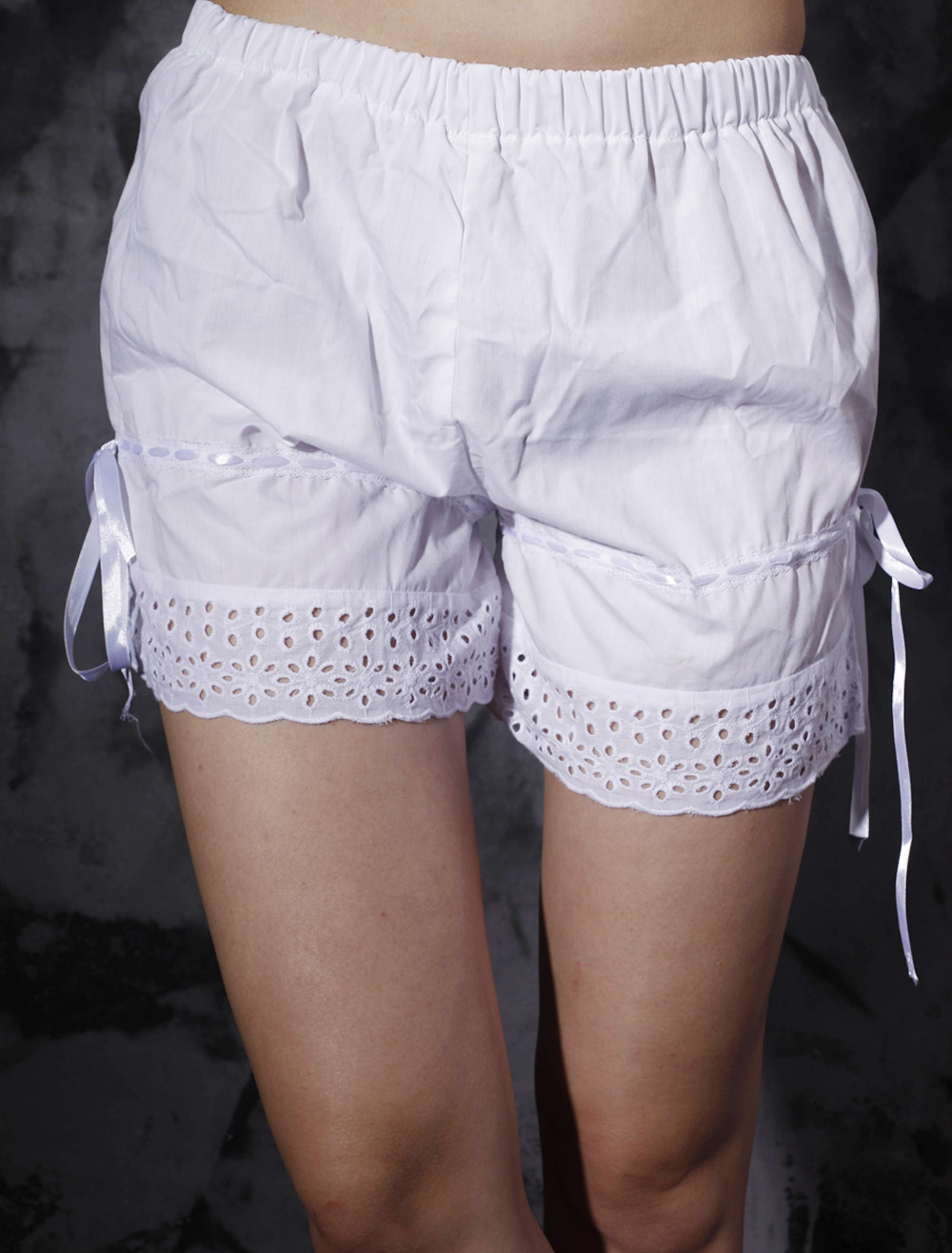 Amazing Cotton White Lace Lolita Bloomers $13.99 AT vintagedancer.com