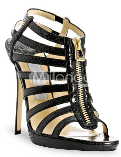 "4 7/10"" High Heel Black Strappy Sexy Sandals"