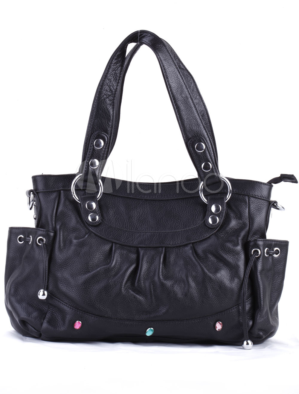 40*12*32cm Cute Black PU Tote Handbag