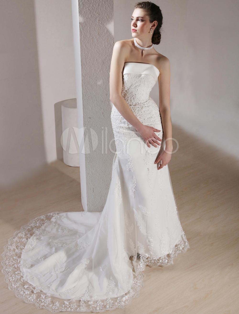 Wonderful White Gauze Lace Strapless Floor Length Luxury Wedding Dress