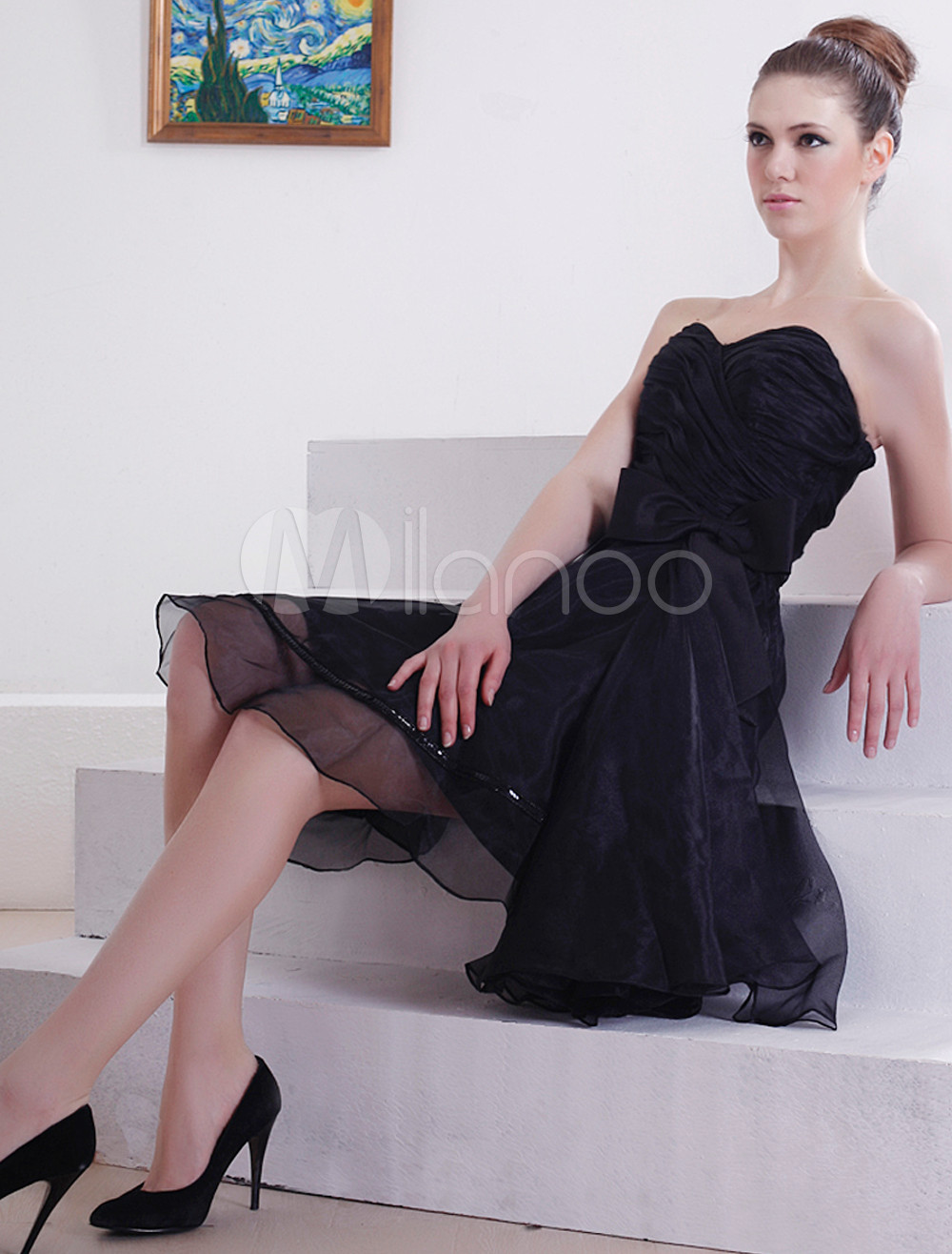 Attractive Strapless Sweetheart Knee Length Satin Chiffon Little Black Dress