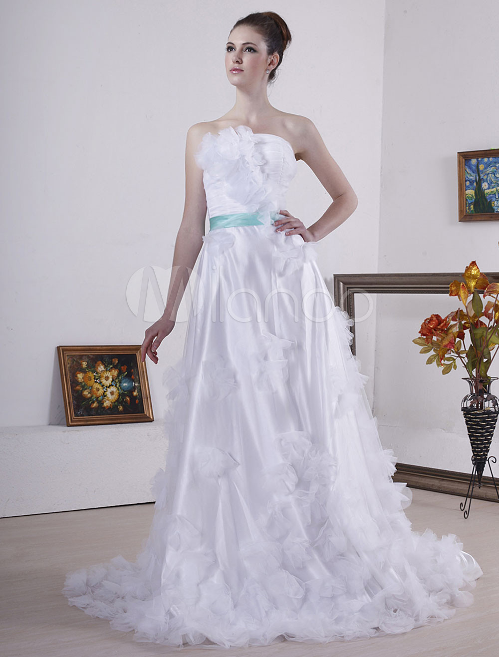 Beautiful White Chiffon Satin Wedding Dress