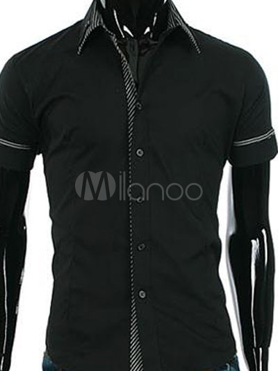 Casual Black 100% Cotton Short Sleeves Mens Shirt