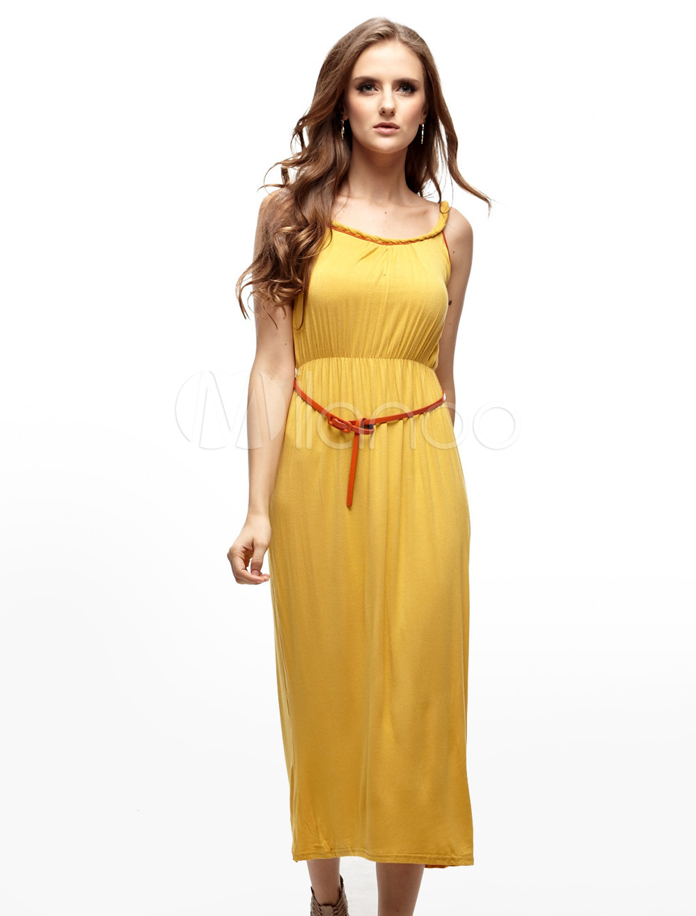 Gorgeous Yellow 65% Cotton 35% Polyester Spaghetti Womens Summer Dress