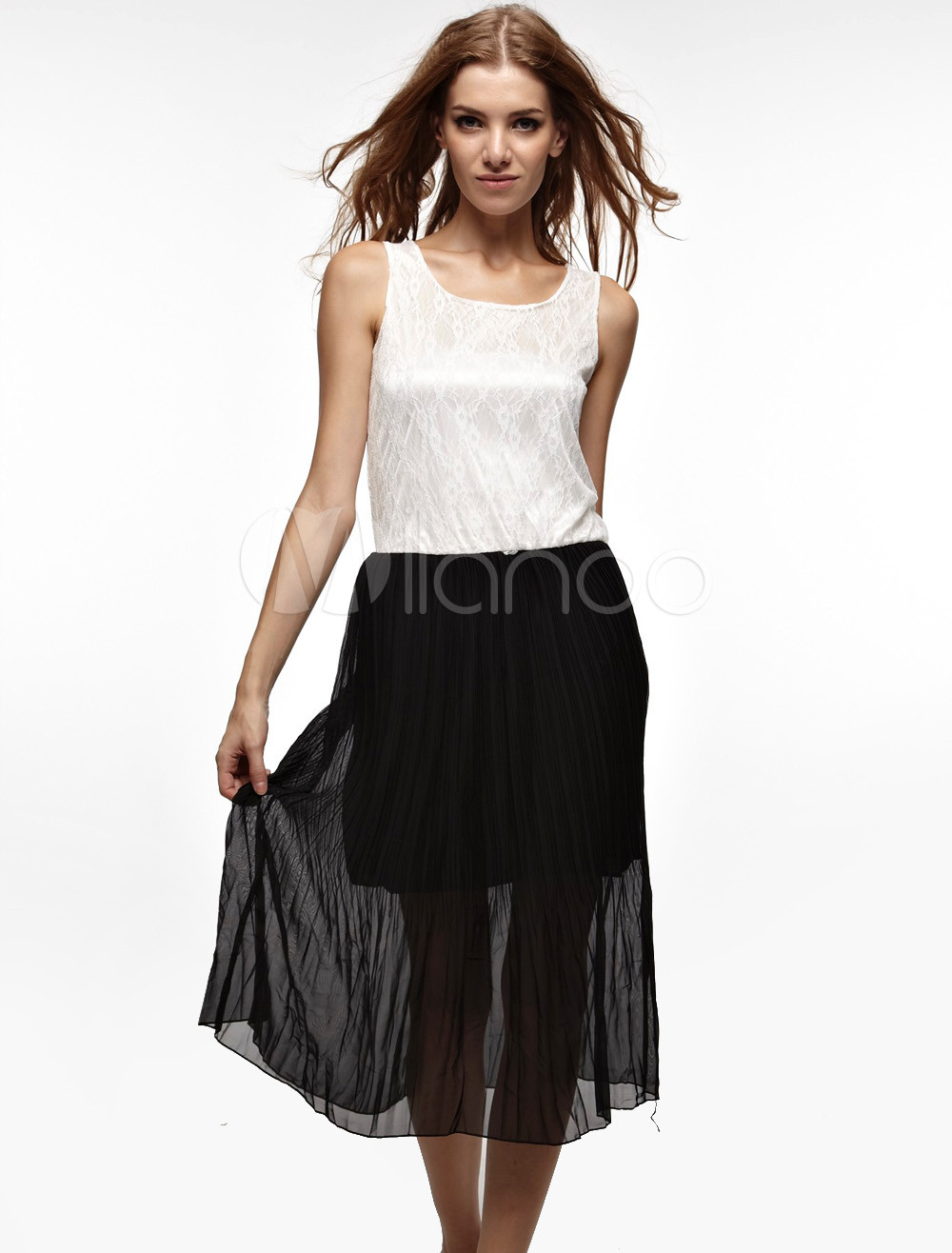 Unique Black White Sleeveless Lace Polyester Womens Summer Dress