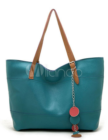 46*15*30cm Fashion Teal Simple Sweet PU Womens Handbag