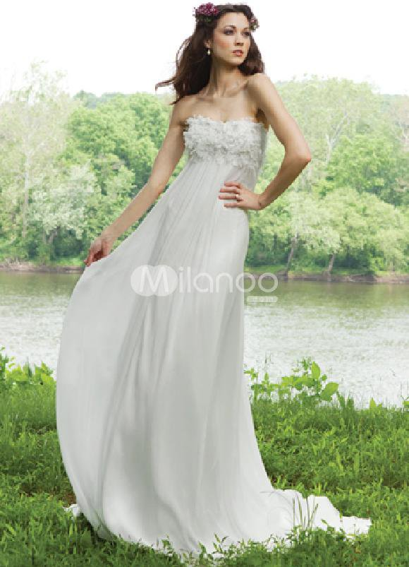 Ivory Strapless Sweep Train Satin Chiffon Wedding Dress For Bride