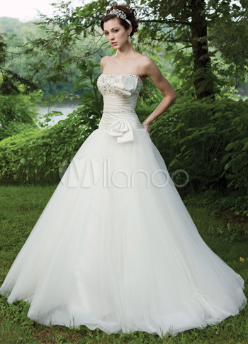 Ivory Strapless Floor Length Satin Embroidery Wedding Dress