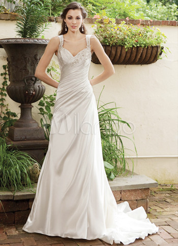 Ivory Sweet Heart Satin Embroidery Wedding Dress