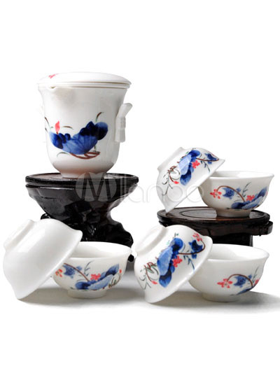 8-Piece Beautiful White Lotus Patterns Ceramics Tea Set