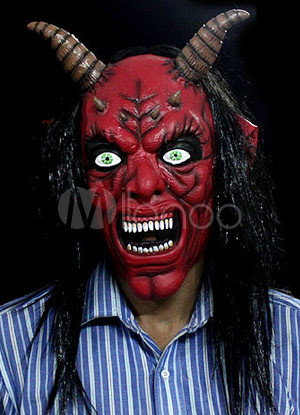 halloween hair red bull king scary mask. Black Bedroom Furniture Sets. Home Design Ideas