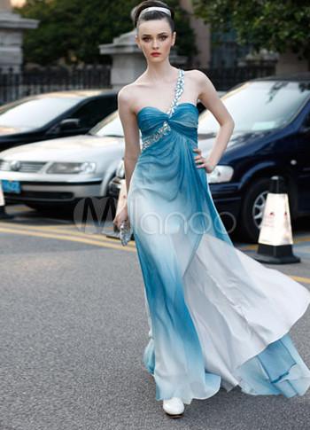 Sexy Blue Silk Sweetheart Womens Evening Dress (Wedding Special Offer) photo