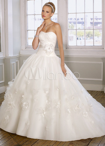 Ivory Satin Organza Sweep Applique Train Ball Gown