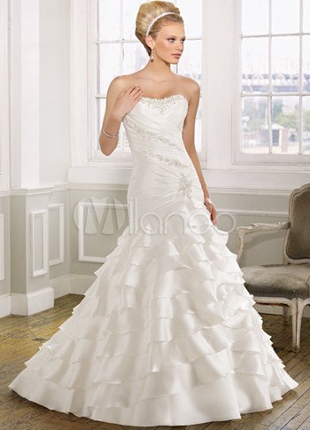 Ivory Strapless Satin Taffeta Mermaid Trumpet Bridal Dress