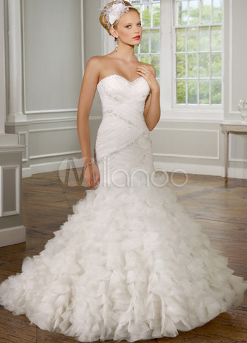 Luxury Ivory Satin Organza Sweet Heart Mermaid Trumpet Wedding Dress