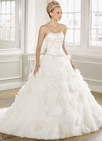 Ivory Satin Organza Strapless Sweep Train Ball Gown