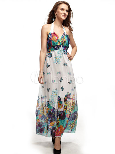 Unique Orange Floral Suspender 100% Cotton Womens Maxi Dress