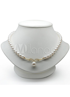 Elegant S925 9.5 10/5 5.5mm White Fresh Water Pearl Womens Pearl Necklace