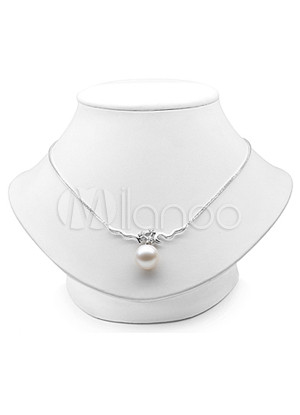Elegant S925 10 10.5/5 5.5mm White Fresh Water Pearl Womens Pearl Necklace