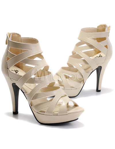 Fashion Cream-coloured 3 9/10'' High Heel Nappa Gladiator Sandals ...