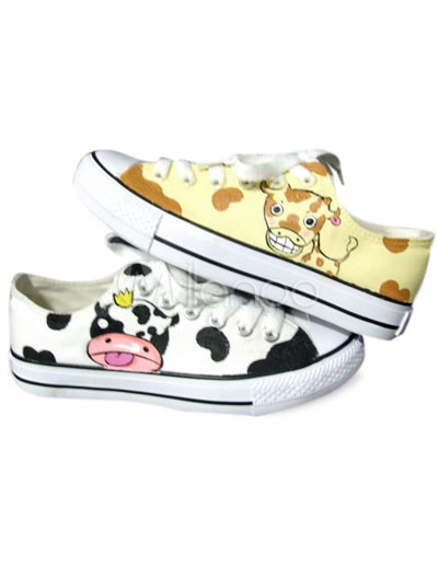 Lovely Yellow Hand-painted Canvas Flat Shoes For Women