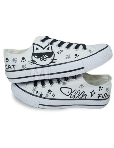 Fashion Girl Hand-painted Cat White Rubber Sole Canvas Shoes For Women
