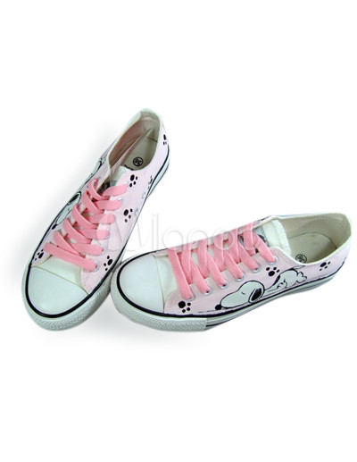 Cute Flat Shoes on Cute Pink Hand Painted Canvas Flat Shoes For Women   Milanoo Com