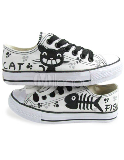 Cute White Cat And Fish Doodling Canvas Womens Sneakers