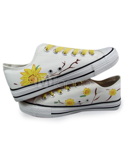 Cute Flat Shoes on Cute White Hand Painted Canvas Flat Shoes For Women   Milanoo Com