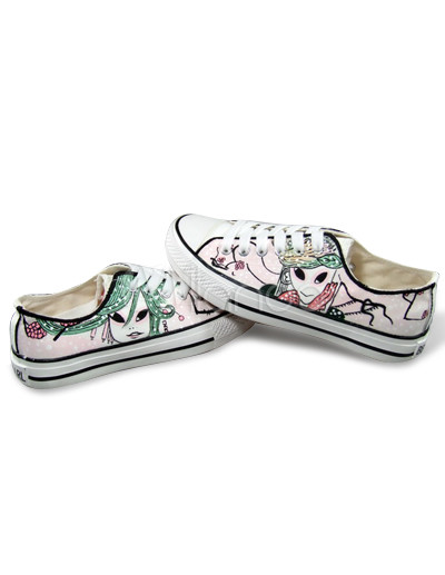 Cute Pink Hand-painted Canvas Flat Shoes For Women - Milanoo.com