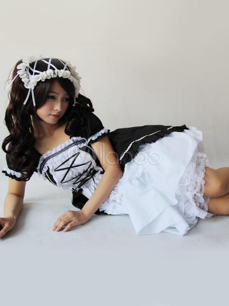 wei es und schwarzes lolita kleid aus baumwolle mit kurzen. Black Bedroom Furniture Sets. Home Design Ideas