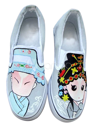 White Chinese Flavor Canvas TPR Sole Womens Painted Shoes