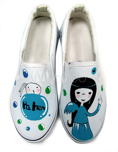 Fashionable White Cartoon Girl Canvas TPR Sole Womens Painted Shoes