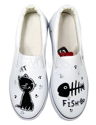 Unique White Cat And Fish Canvas TPR Sole Womens Painted Shoes