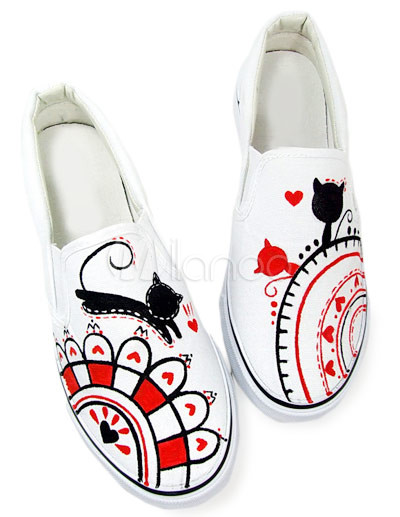 Popular White Cat Scrawl Canvas TPR Sole Womens Painted Shoes
