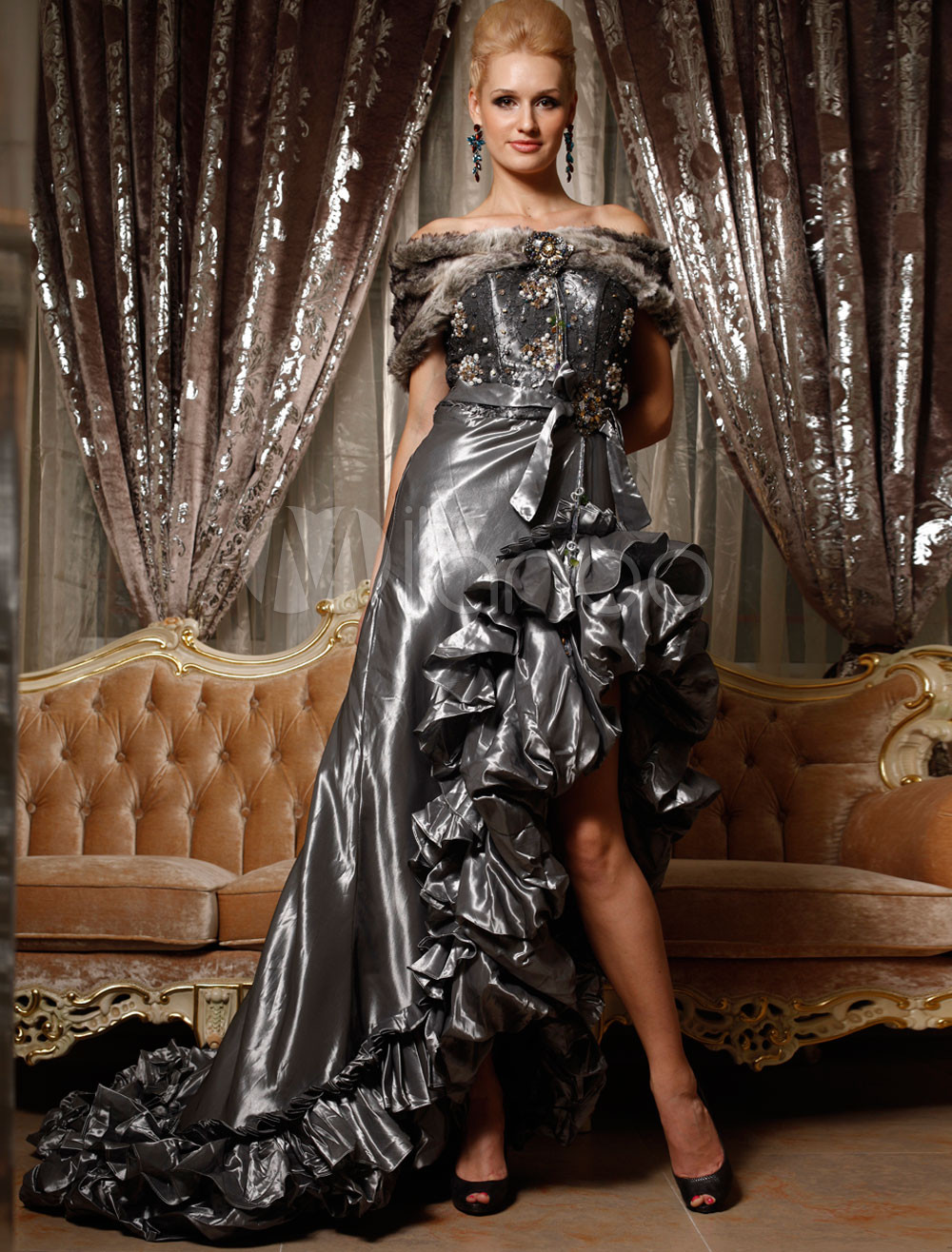 Gorgeous Silver Grey Mermaid Trumpet Taffeta Sweetheart Royal Dress