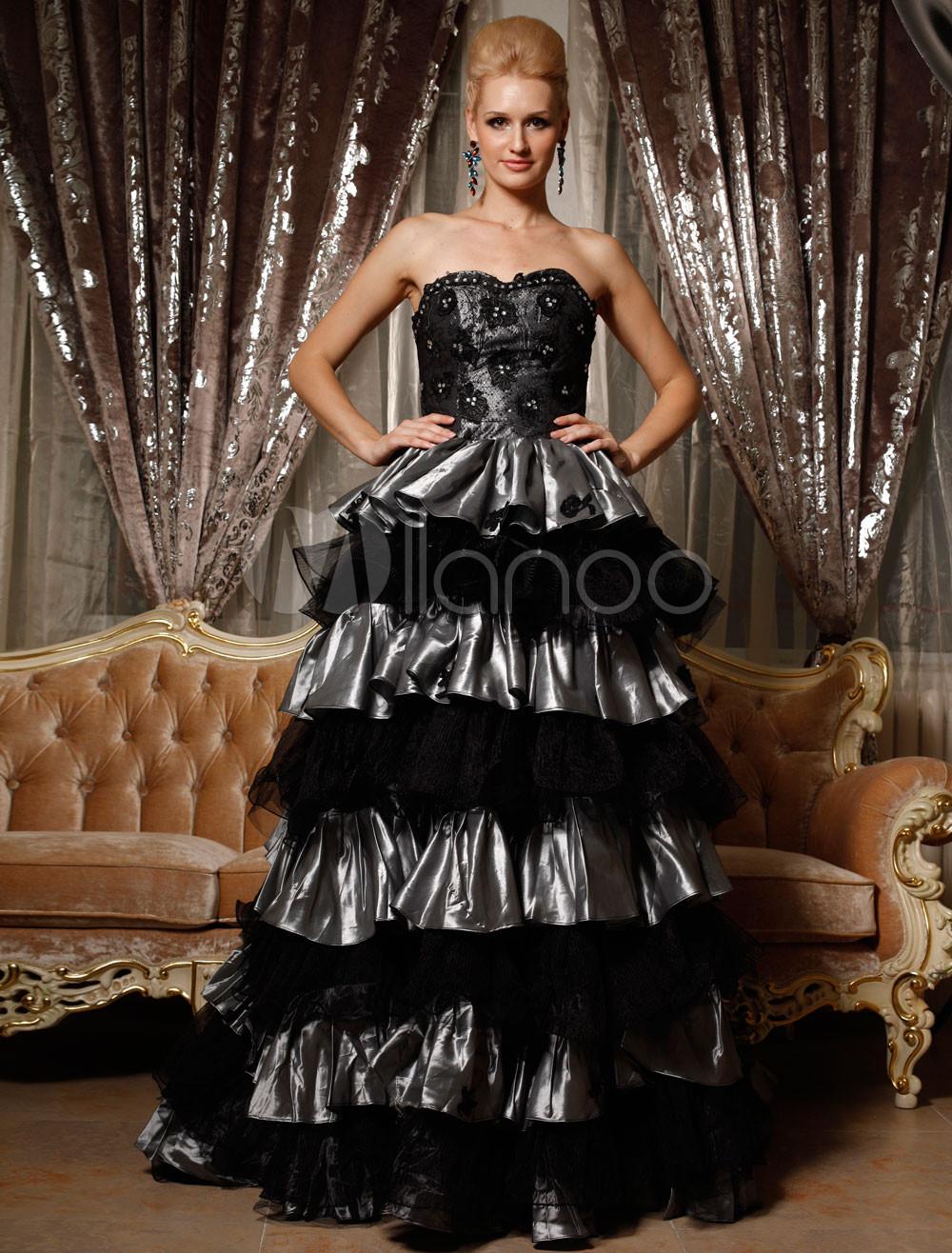 fabelhafte schwarz grau ballkleid taffeta sweetheart royal. Black Bedroom Furniture Sets. Home Design Ideas