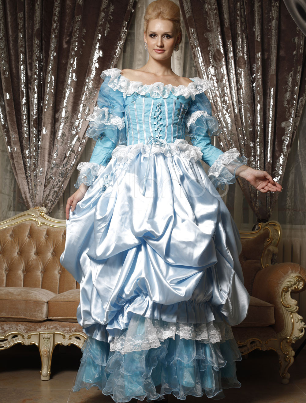 Beautiful Sky Blue Ball Gown Satin Jewel Royal Dress