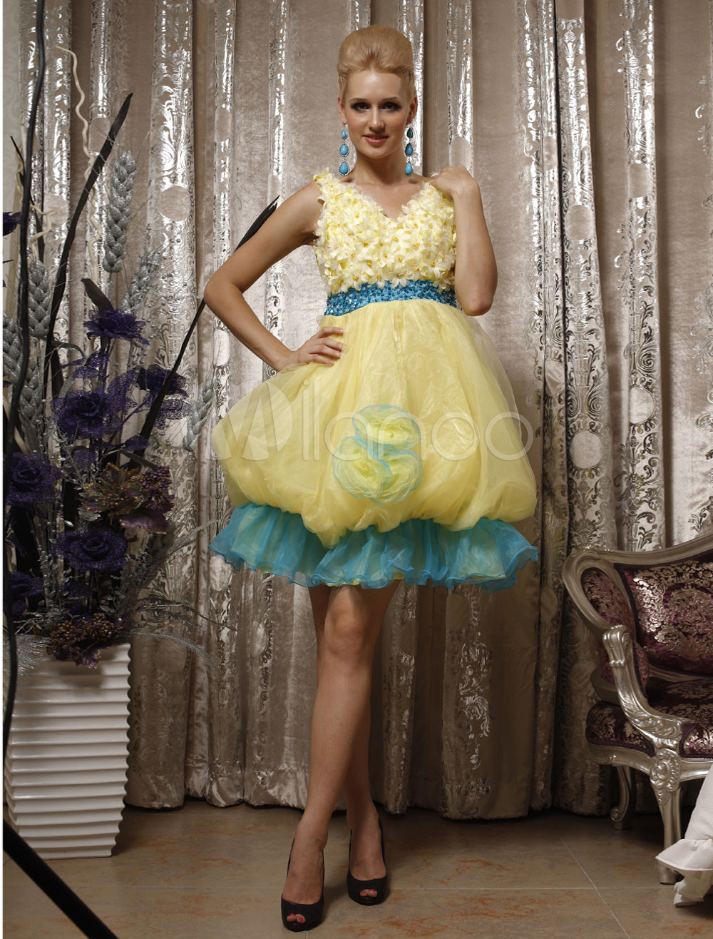 Sweet Yellow Ball Gown Silk Like Satin V-neck Royal Dress