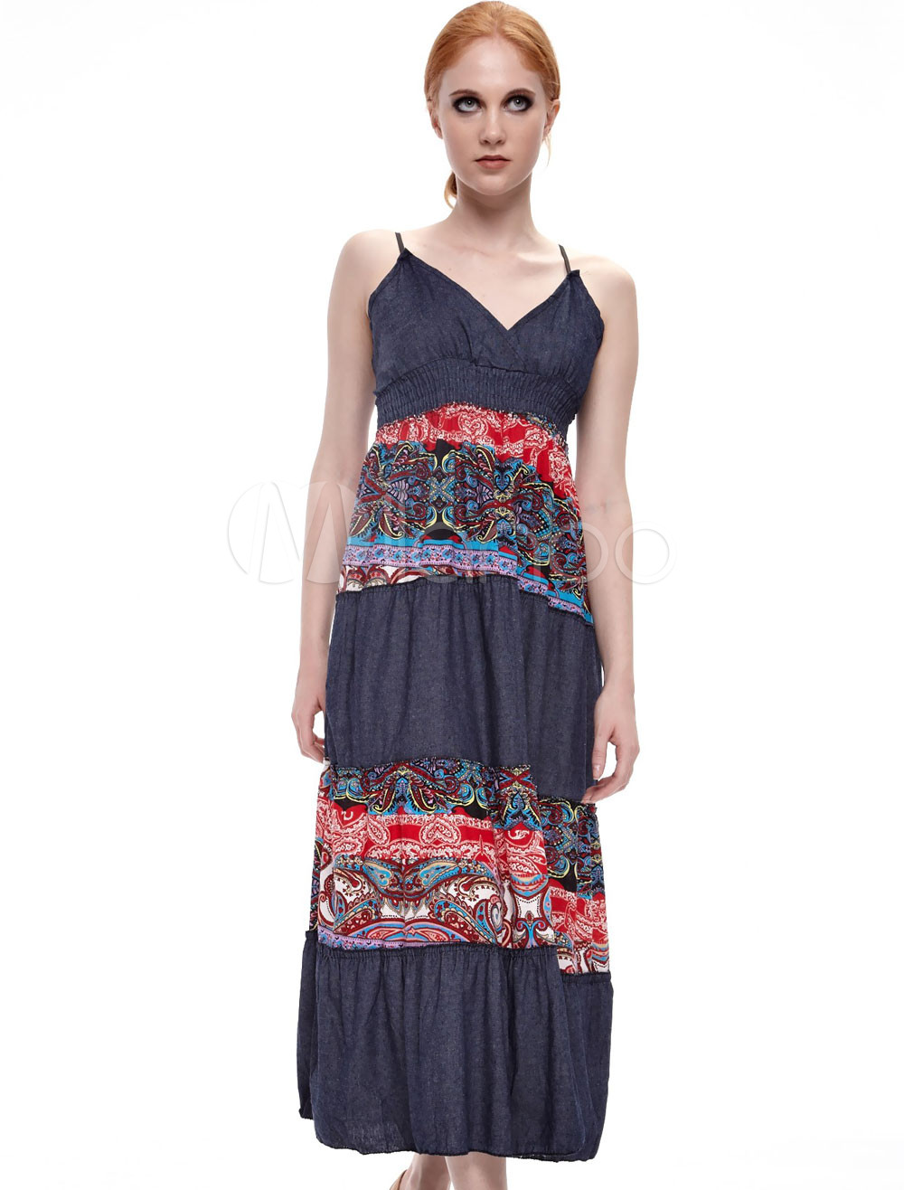 Modern Red Floral Suspender Jeans Fabric Women's Summer Dress
