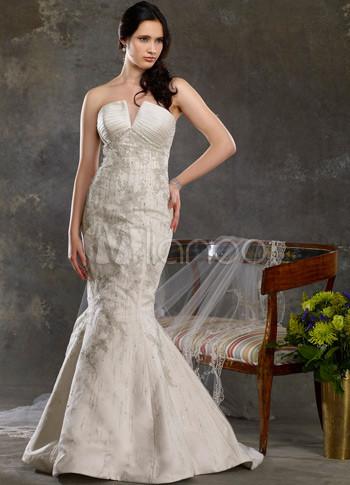 Classical Ivory Satin Mermaid Sweetheart Celebrity Wedding Dresses