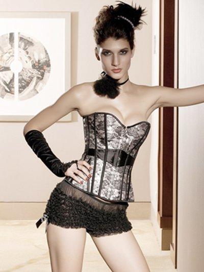 Popular Black White Acrylic Lace Womens Lingerie Set