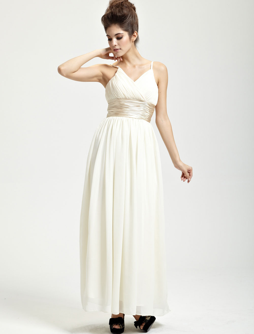 Elegant Ivory Chiffon Floor Length Womens Evening Dress