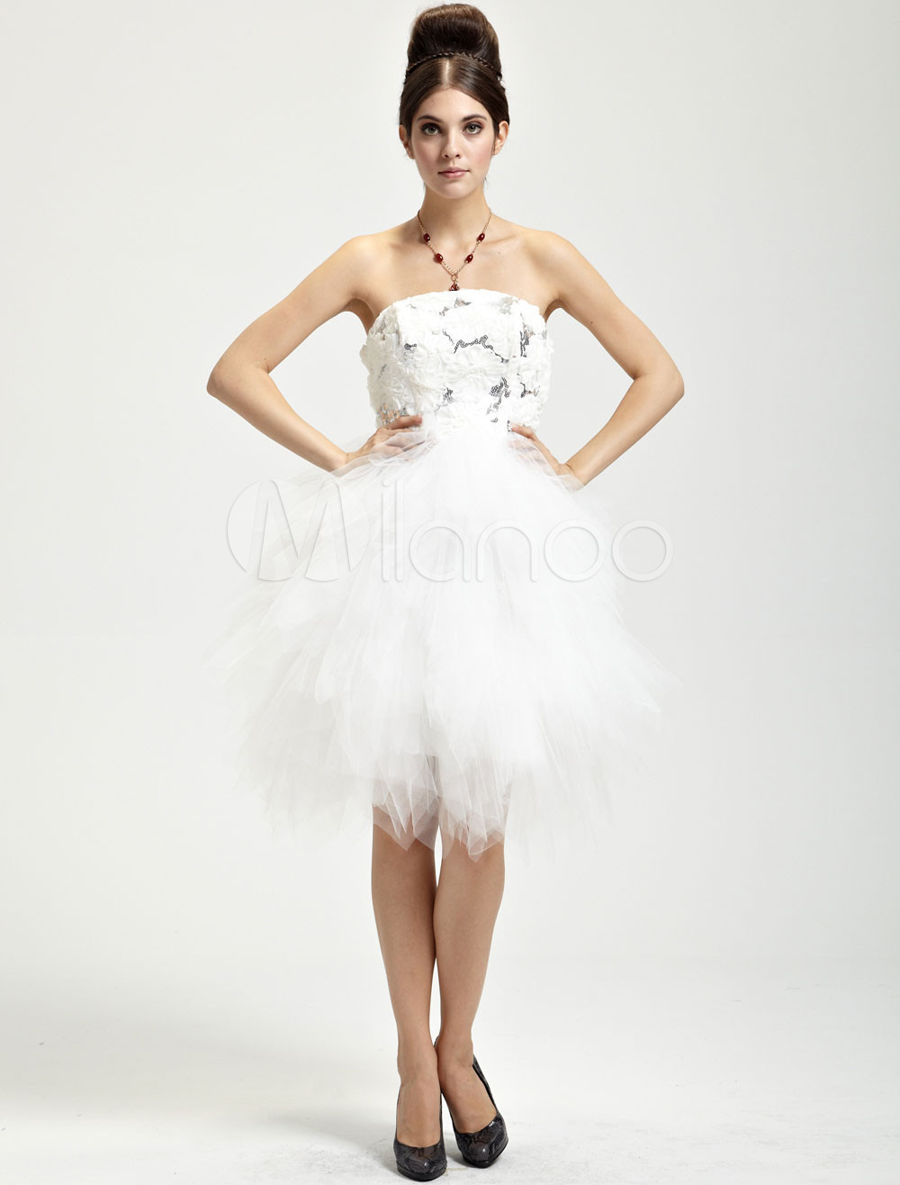 Sweet Ivory Net Strapless Womens Mini Wedding Dress