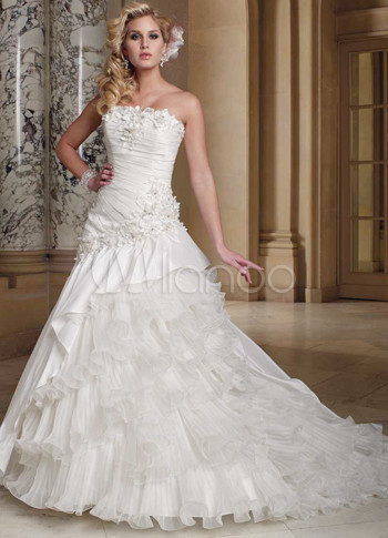 Beautiful White Net Strapless Sweep Womens Luxury Wedding Dress