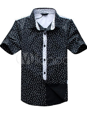 Wonderful Casual Black Short Sleeves Silk Satin Mens Shirt