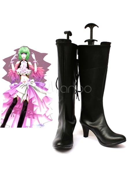 Vocaloid Gumi Black Faux Leather 2 34 High Heel Cosplay Shoes $42.99 AT vintagedancer.com