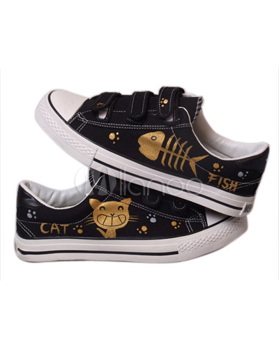 Black Cute Cat And Fish Hand-painted Rubber Sole Canvas Shoes For Women