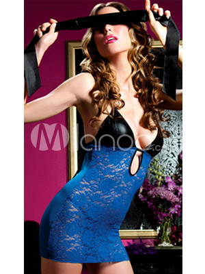 Attractive Black And Blue 90% Nylon 10% Spandex Sexy Lingerie For Women